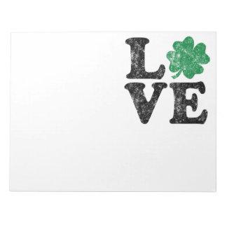 Bloc De Notas Irlandés del trébol del AMOR del día de St Patrick