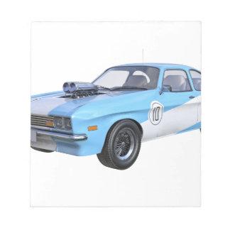 Bloc De Notas los años 70 azules y coche blanco del músculo