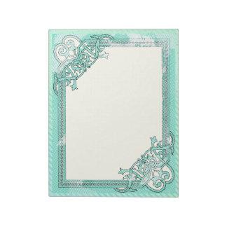 Bloc De Notas Lunar floral del collage de la verde menta + Línea
