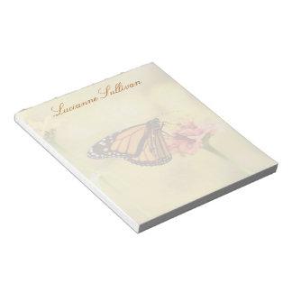 Bloc De Notas Mariposa de monarca en Zinnia
