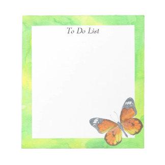 Bloc De Notas Mariposa en acuarela amarilla/verde