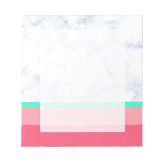 Bloc De Notas menta de mármol blanca elegante del melón del rosa