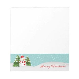 Bloc De Notas Muñeco de nieve lindo y texto rojo de las Felices