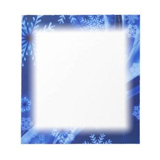 Bloc De Notas Navidad azul de los copos de nieve del invierno