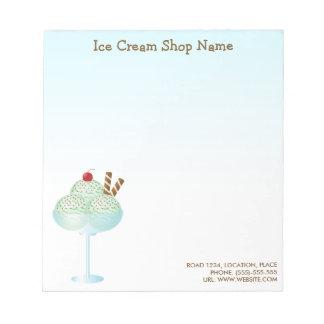 Bloc De Notas Negocio de la tienda de helado del helado del