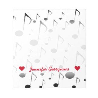 Bloc De Notas Nombre adaptable; Modelo de muchas notas musicales