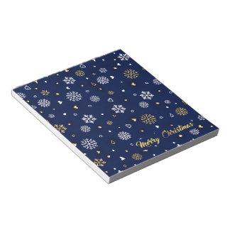 Bloc De Notas Oro de las Felices Navidad y copos de nieve