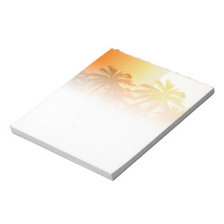 Bloc De Notas Palmeras tropicales en la puesta del sol