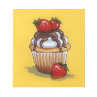 Bloc De Notas Pintura de la magdalena, chocolate, fresas, arte