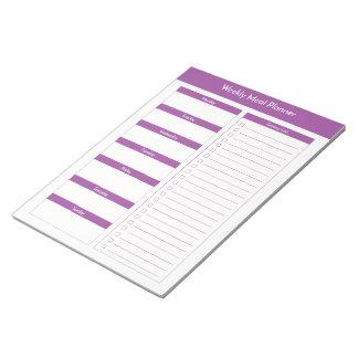 Bloc De Notas Planificador semanal de la comida - púrpura