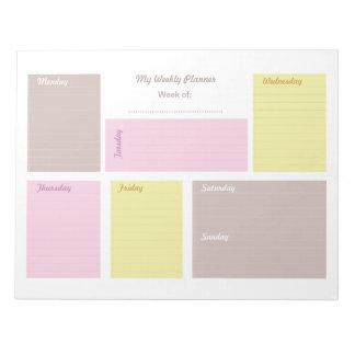 Bloc De Notas Planificador semanal del papel de carta lindo