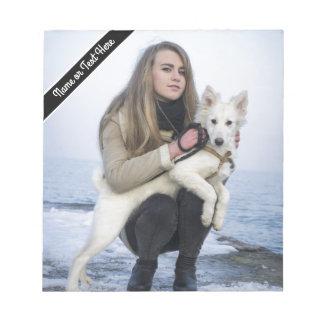 Bloc De Notas Plantilla de encargo de la foto del perro y del