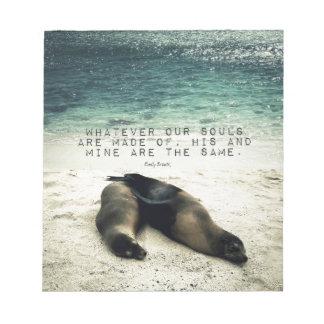 Bloc De Notas Playa romántica Emily Bronte de la cita de los