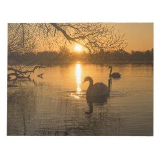 Bloc De Notas Puesta del sol con el cisne