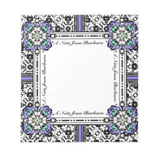 Bloc De Notas Púrpura del damasco y nombre elegantes del