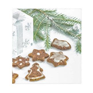 Bloc De Notas ramitas y galletas de la decoración del navidad