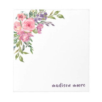 Bloc De Notas Ramo floral de la lavanda y del rosa