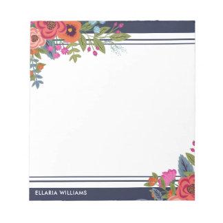 Bloc De Notas Ramos florales de Boho - azules marinos y blanco -