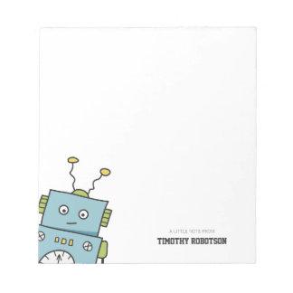Bloc De Notas Robot dibujado mano azul linda