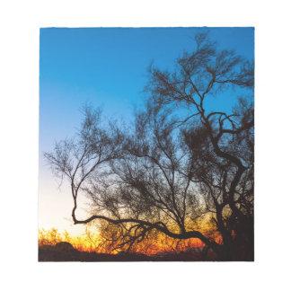 Bloc De Notas Salida del sol de la silueta del árbol de Palo