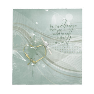 Bloc De Notas Sea el cambio, cinta del corazón del oro, diploma,