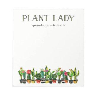 Bloc De Notas Señora de moda y divertida de la planta con el