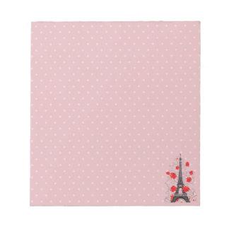 Bloc De Notas Silueta elegante elegante de la torre Eiffel de
