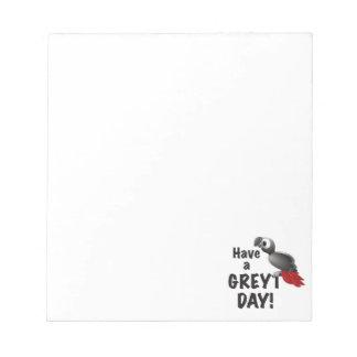 Bloc De Notas Tenga un día de Greyt - gran loro del gris