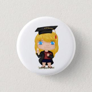 Blonde del chica de la graduación (b) chapa redonda de 2,5 cm