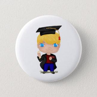Blonde del muchacho de la graduación (b) chapa redonda de 5 cm