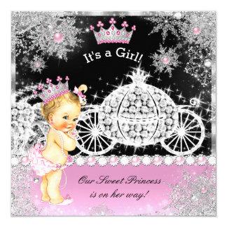 Blonde del negro del rosa del carro de la princesa invitación 13,3 cm x 13,3cm