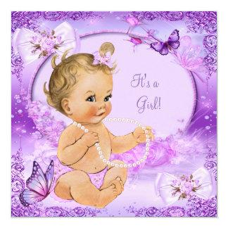 Blonde púrpura de la mariposa de la fiesta de invitación 13,3 cm x 13,3cm