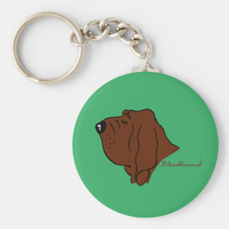 Bloodhound cabeza silueta llavero redondo tipo chapa