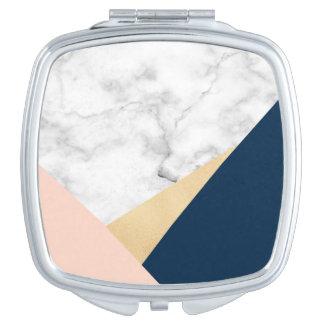bloque azul del color del melocotón de mármol espejo de maquillaje