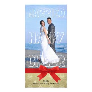Bloque blanco casado de la alegría feliz - tarjeta plantilla para tarjeta de foto
