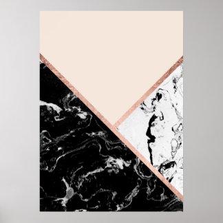 P sters m rmol blanco y negro l minas e impresiones for Color marmol rosa