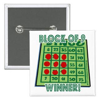 ¡Bloque del botón del bingo de ganador del bingo 9 Pin