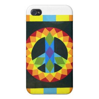 Bloque del edredón del signo de la paz iPhone 4 cárcasas