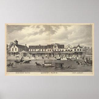 Bloque del negocio, parque de Asbury, New Jersey Póster