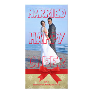 Bloque rojo casado de la alegría feliz - tarjeta tarjetas fotograficas personalizadas
