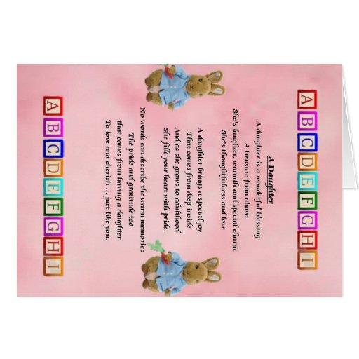 Bloques del bebé - poema de la hija tarjeta