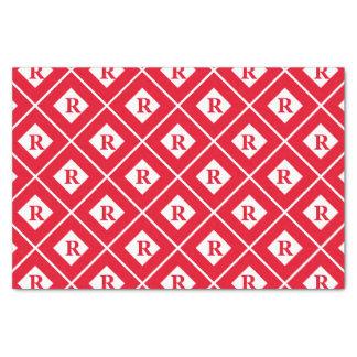 Bloques geométricos rojos/blancos iniciales papel de seda