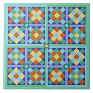 Bloques marroquíes de la teja en terracota azul
