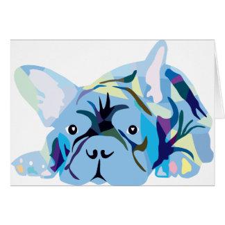 Blue French Bulldog Tarjeta De Felicitación