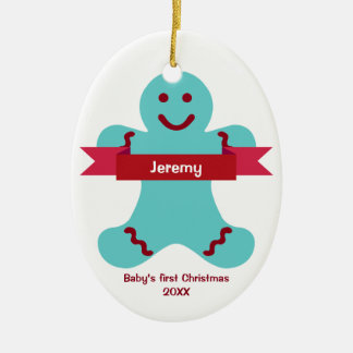 Blue gingerbread kid red banner name baby first ornament