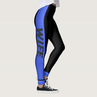 Blue Line fino - esposa azul fina Leggings