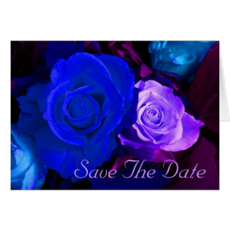 Blue Purple Rose Save The Date Card