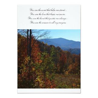 Blue Ridge Mountains hermoso durante caída Invitación 12,7 X 17,8 Cm