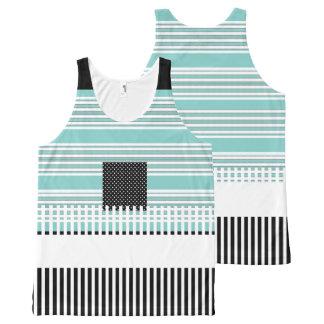 Blue-Striped--Black-Summer-Fun-Women-Tank-Top Camiseta De Tirantes Con Estampado Integral