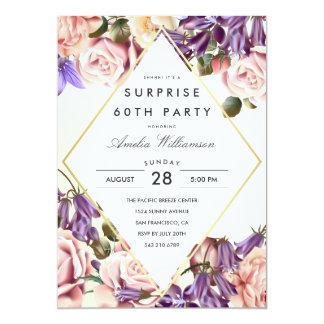 Bluebells y rosas hermosos del fiesta de sorpresa invitación 12,7 x 17,8 cm